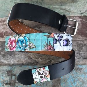 Ed Hardy Tile Belt 34-36""